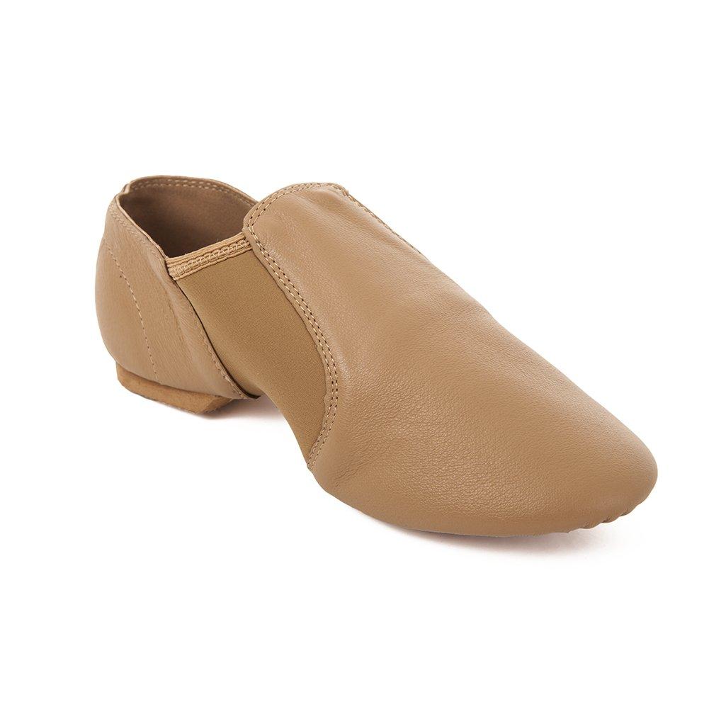 Factory Second Tan Slip On Split Sole Full Grain Leather Jazz Shoe with Neoprene Inserts Tan 6