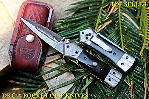 DKC-130-DS-PC Night Star Pocket Clip Damascus Folding Pocket Hunting Knife Damascus Blade 4.5′ Folded 8″ Open 9.5 oz