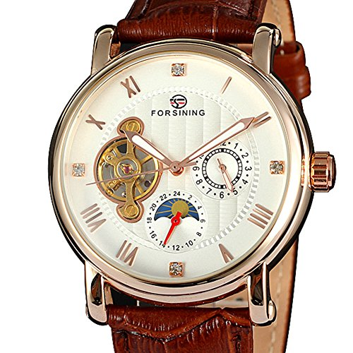 Men's Skeleton Watch Auto-wind with Brown Leather Band Sun and Moon Display