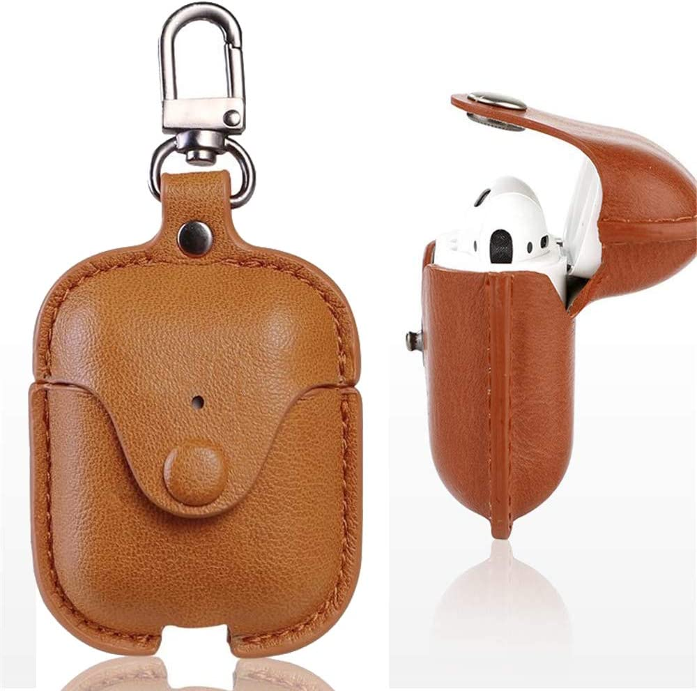 Leather Case for AirPods with Keychain, pordsioc Premium Leather Vintage Portable Shockproof Protective Cover for Apple AirPod Earphones Charging Case (Light Brown)