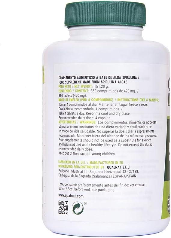 Espirulina Comprimidos | Saciante + Proteina + Vitaminas | Más Energía y Vitalidad | Mejora tú Rendimiento Deportivo |100% Natural | Spirulina 360 Comprimidos: Amazon.es: Salud y cuidado personal