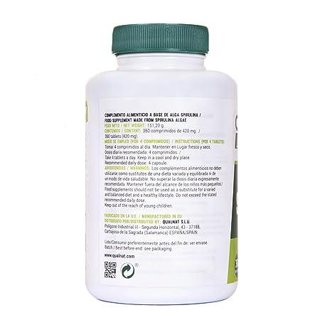 Espirulina Comprimidos | Saciante + Proteina + Vitaminas | Más Energía y Vitalidad | Mejora tú Rendimiento Deportivo |100% Natural | Spirulina 360 ...