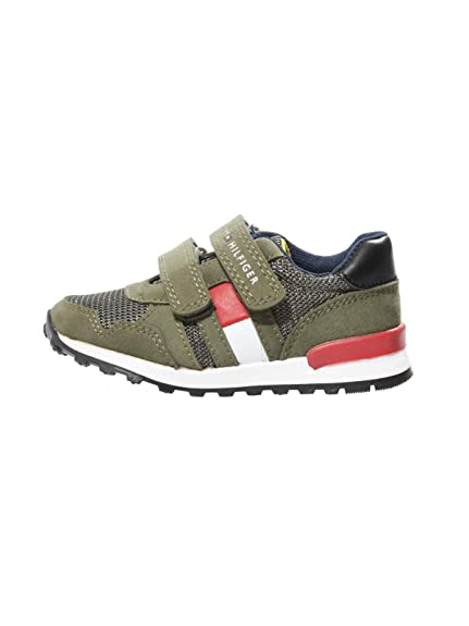 best supplier buy best official shop Tommy Hilfiger T1B4-30076-0316 Green Eco Nubuck Infant Trainers ...