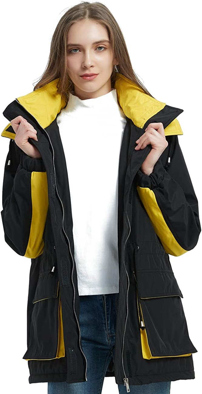 Hurrg Mens Warm Hooded Winter Faux Fur Collar Fleece Lined Cotton Trench Coat Outwear