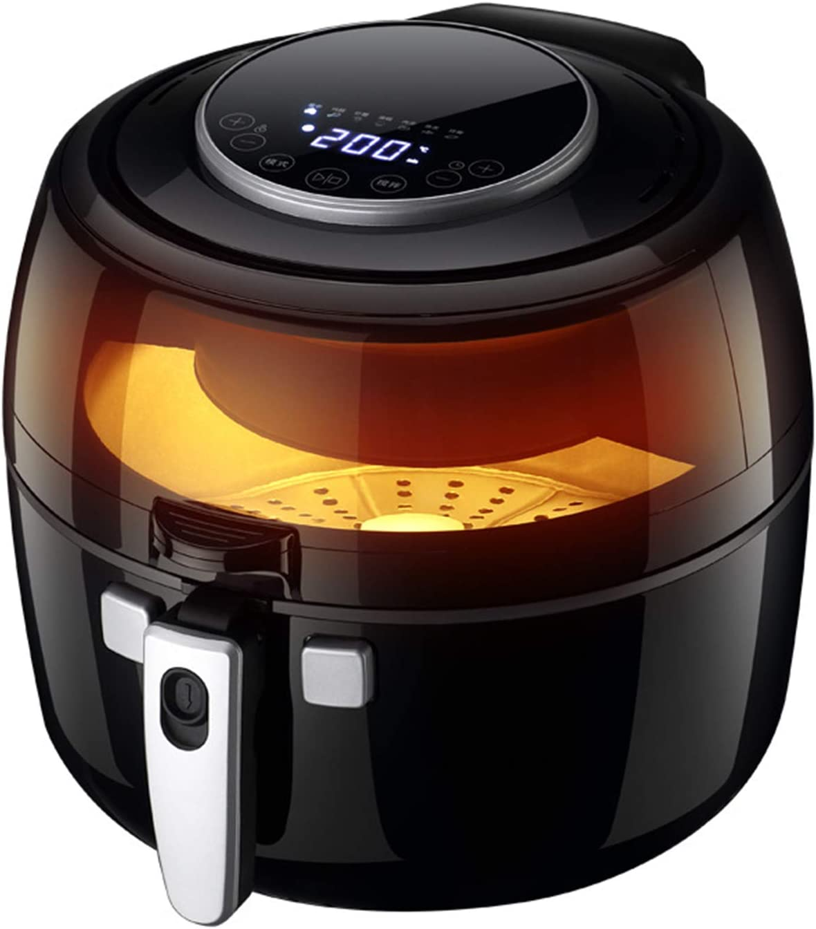 Household Electric Air Fryer, 6.5L Large Capacity LCD Touch Screen Oil-Free Electric Fryer, with Visible Window, for Low-Fat Cooking