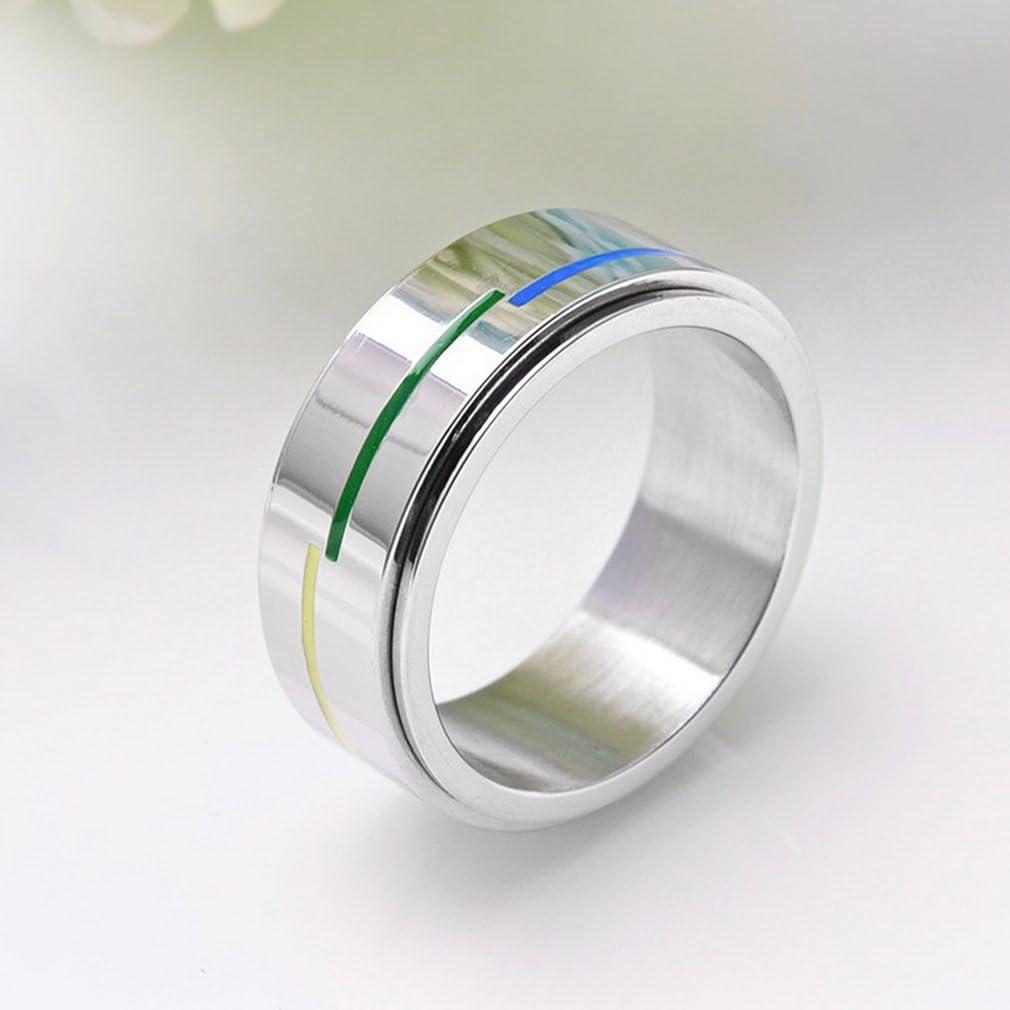 Yazilind Titan Stahl drehbar Ringe Rainbow Linien Party Rock Band Ring Multi Gr/ö/ße optional Gr/ö/ße 18.8