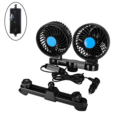 Car Fans, Electric Auto Cooling Fan, 12V with 360° Rotatable Dual Head Adjustable Speed Rear Seat Air Fan for Sedan SUV RV Boat (Black): Car Electronics