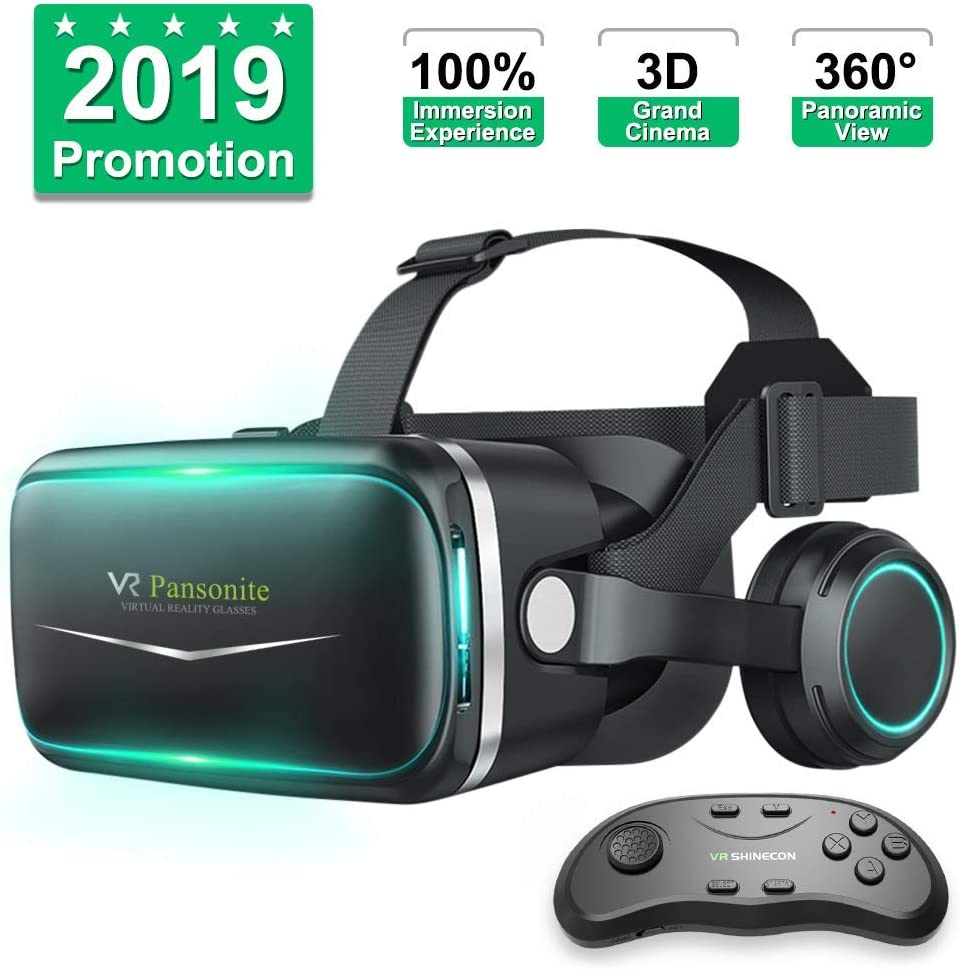 Pansonite Vr Headset with Remote Controller[New Version], 3D Glasses Virtual Reality Headset for VR Games & 3D Movies, Eye Care System for iPhone and