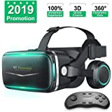Pansonite Vr Headset with Remote Controller[New Version], 3D Glasses Virtual Reality Headset for VR Games & 3D Movies…