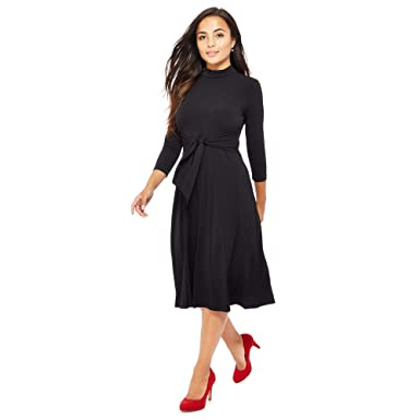 76417daecb3eb Debenhams The Collection Petite Womens Black Tie Front Knee Length Petite  Dress 20P: The Collection Petite: Amazon.co.uk: Clothing