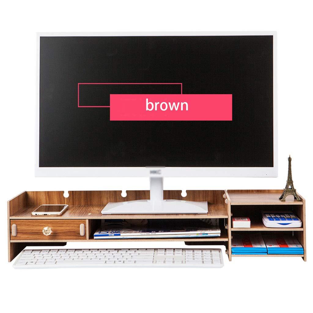 多機能コンピュータデスク、木製デスクトップオーガナイザーキーボードシェルフデスクトップモニタースタンドブラウン (色 : Brown) B07MTLYR6R Brown