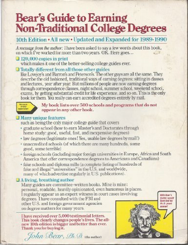 Bear's guide to earning non-traditional college degrees (Bears' Guide to Earning Degrees by Distance Learning) (Bears Guide To Earning Degrees By Distance Learning)