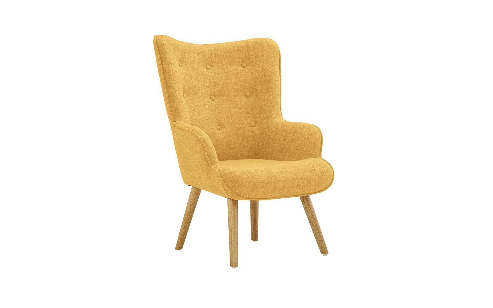Accent Chair for Living Room, Upholstered Linen Arm Chairs with Tufted Button Detailing and Natural Wooden Legs (Yellow) - Divano Roma Furniture launches its new classic style accent chair upholstered with linen fabric that includes tufted button detailing on the backrest. Comfortable and sturdy, this chairs comes with high density memory foam cushions that have hypoallergenic stuffing, making them ideal for people who suffer from dust allergies. Available in blue, this stylish arm chair is a great addition to your living room, bed room, guest room and kid's room. - living-room-furniture, living-room, accent-chairs - 61pYMfctKCL -