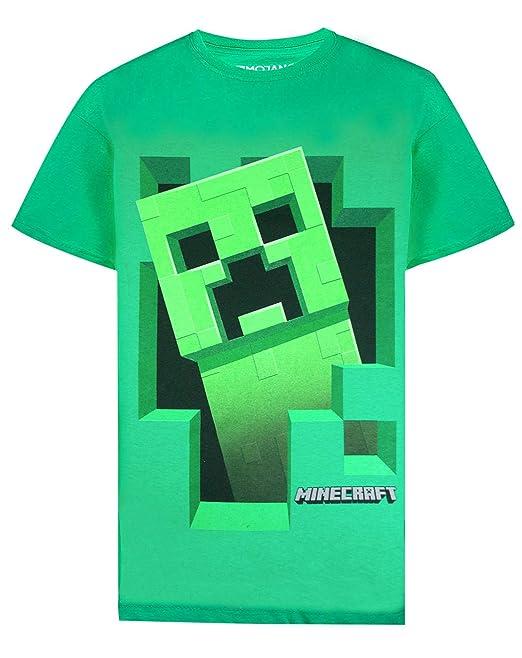 Minecraft Creeper Inside Boys Green T-Shirt: Amazon.es: Ropa y accesorios