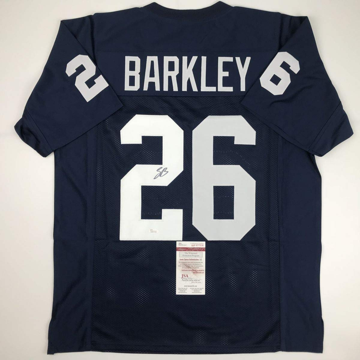 cheap for discount 6dc31 352d5 Autographed Signed Saquon Barkley Penn State Blue Football ...