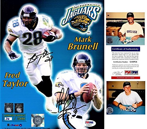 Fred Taylor and Mark Brunell Signed - Autographed Jacksonville Jaguars JAGS 8x10 inch Photo - Limited 36/500 - Certificate of Authenticity (COA) - PSA/DNA Certified