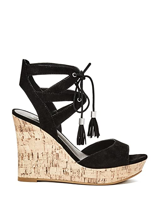 Amazon.com | G by GUESS Womens Estes Black Sandal 10 M | Platforms & Wedges