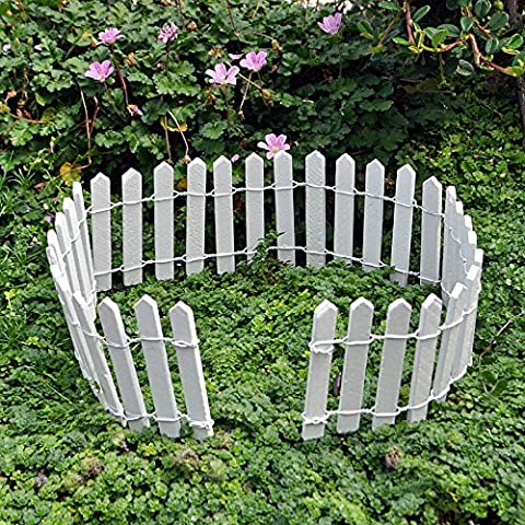 Miniature Fairy Garden White Wood Picket Fence, 18 by 2, Model: , Home/Garden & Outdoor Store (Patio Pickets)