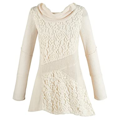 Women's Cream Tunic Sweater - Lace Cowl Neck Asymmetrical Top ...