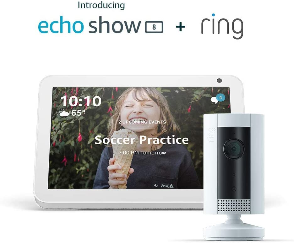 Echo Show 8 (Sandstone) with Ring Indoor Camera