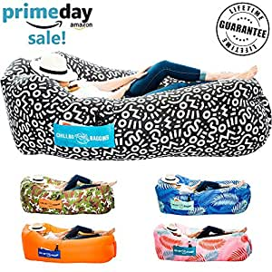 Chillbo Baggins 2.0 Inflatable Lounge Bag Hammock Air Sofa and Pool Float Ships Fast! Ideal for Indoor or Outdoor Hangout or Inflatable Lounger for Camping Picnics & Music Festivals (Black+White)