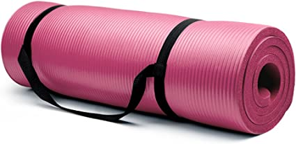 Amazon Com Crown Sporting Goods 5 8 Inch Extra Thick Yoga Mat With No Stick Ridge Pink Sports Outdoors