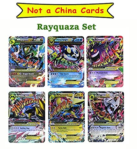 Set of 6 Mega EX Cards (Plastic Laminated Cards) Rayquaza, Gengar and etc