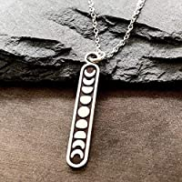"""Sterling Silver Small Moon Phase Charm Pendant Necklace, 18"""""""