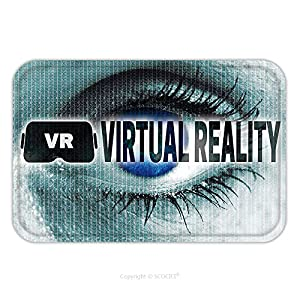 Flannel Microfiber Non-slip Rubber Backing Soft Absorbent Doormat Mat Rug Carpet Virtual Reality Eye Looks At Viewer Concept 454225012 for Indoor/Outdoor/Bathroom/Kitchen/Workstations