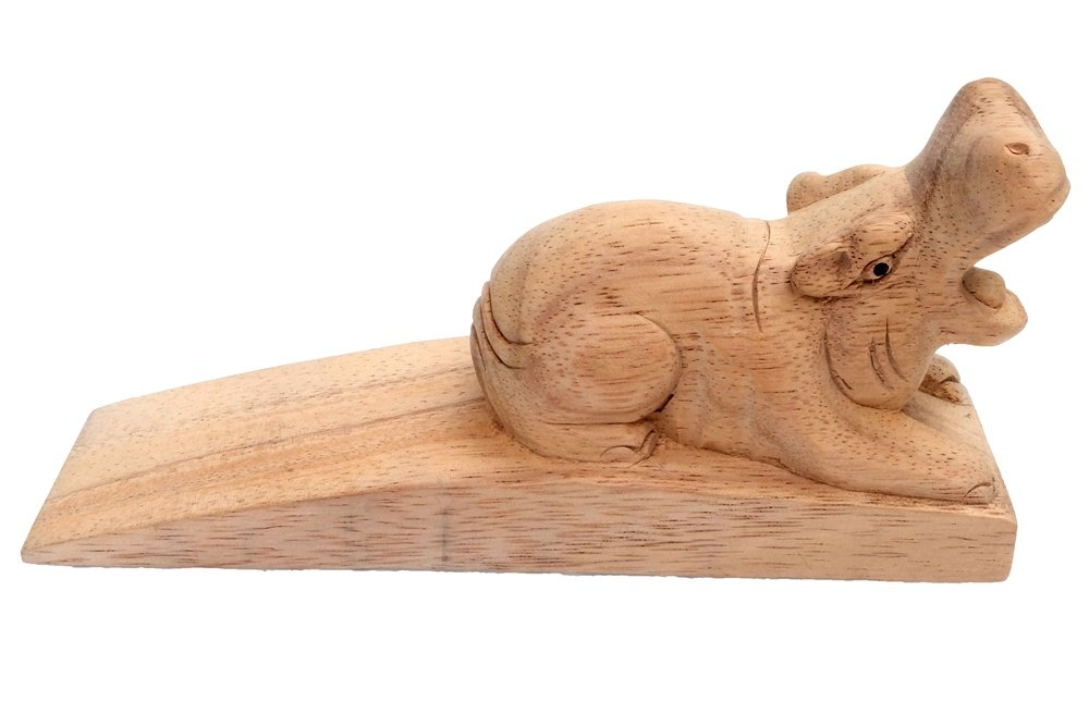 Design by UnseenThailand Decorative Wooden Door Stopper/Doorstop Holder Hand Carved in a Animal Shape Floor Blocker Closers. (Hippo) by UnseenThailand Warehouse (Image #4)