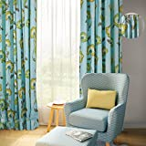 Pinch Pleat 100W x 84L Inch Luxury Cotton Botanical Floral Print Window Curtain Drape Panel For Bedroom Living Room Club Restaurant, Turquoise, ChadMade (1 Panel)