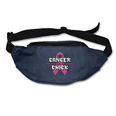Sherrygeoffrey Cancer Messed With The Wrong Chick Breast Cancer Adjustable Belt Waist Pack Waist Bag Running Pack Convenient For Men Women