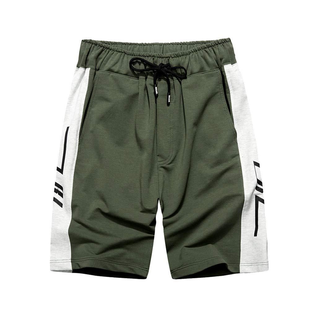 ReooLy Pantaloncini Sportivi da Uomo Casual in Tinta Unita di Colore Chiaro