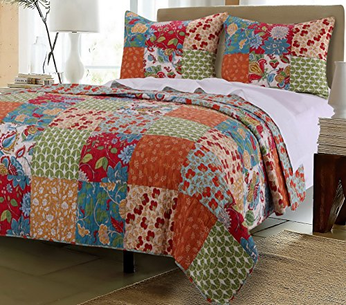 Vintage Country Floral Bedding Patchwork Pattern Flowers Orange Red Blue Green Luxury 100 Cotton Print Reversible Quilt 3 Piece Set with Shams - Includes Bed Sheet Straps