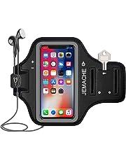 iPhone X/XS Brassard, JEMACHE Gym Course/Exercice/Entraînement Sport Arm Band Coque pour iPhone X/XS avec Poches pour Carte et clé (Noir)