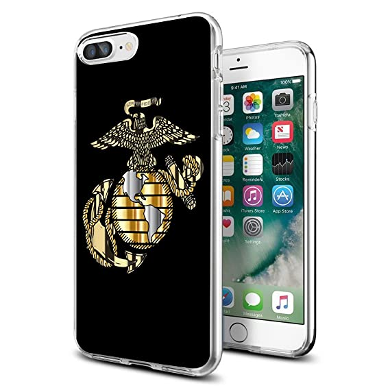 the latest e7705 6d85c Cool Marine Corps USMC Case for iPhone 7 Plus/8 Plus Ultra Thin Protective  TPU Cover Gifts for Girls Men Women Shockproof Bumper Anti-Drop-Scratch PC  ...