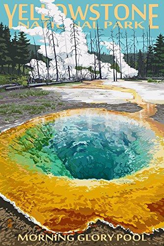 (Yellowstone National Park, Wyoming - Morning Glory Pool (12x18 Art Print, Wall Decor Travel Poster))