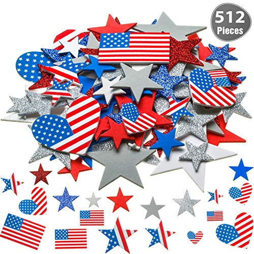 521 Pieces 6 Sizes Patriotic Star Stickers USA Flag Foam Stickers Self-Adhesive Stickers for 4th of July Decorative Crafts Stickers, 9 Colors