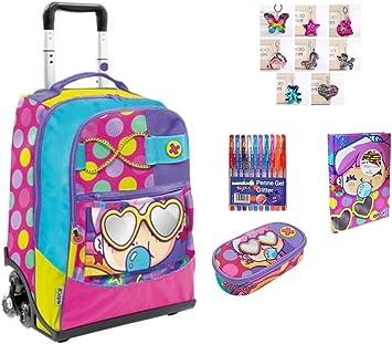 Mochila Escolar Go Pop Pop 5 gráficos Juegos Preciosos 3 Ruedas + Estuche con Cremallera + Diario + Llavero + 10 bolígrafos Brillantes: Amazon.es: Equipaje