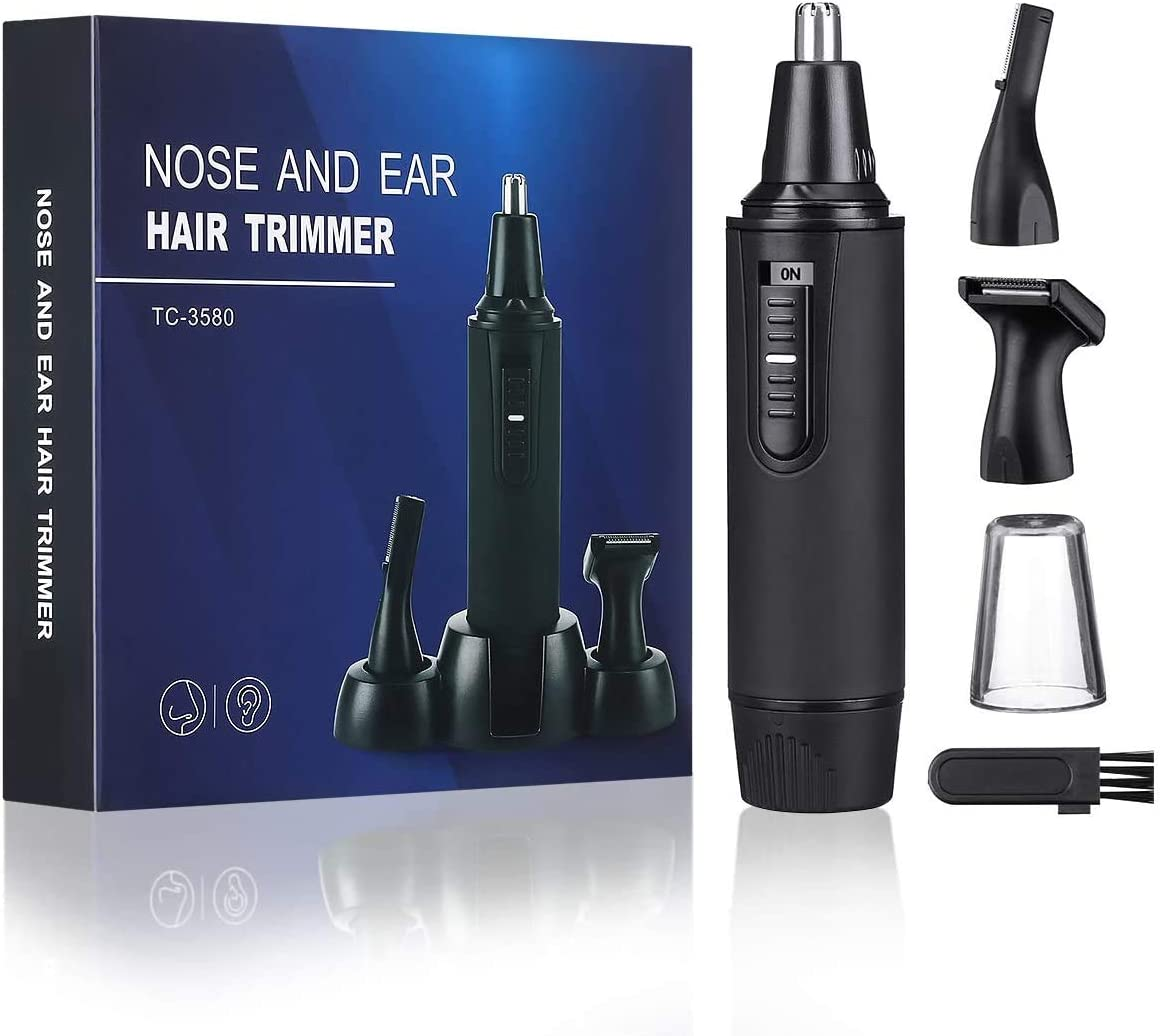 Fovel Cortapelos Nariz y Oreja, Profesional Nose Hair Trimmer, 3 en 1 Multifuncional Recortador Pelos Nariz/Orejas/Ceja/Barba, Inoxidable Doble Borde Waterproof