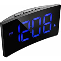 PICTEK Alarm Clock with 5-inch Dimmable LED Curved Screen, Kids Digital Alarm Clock with Snooze Function, 3 Alarm Sounds, 12/24 Hour for Bedrooms, Living Room, Office (No AC Adatper)