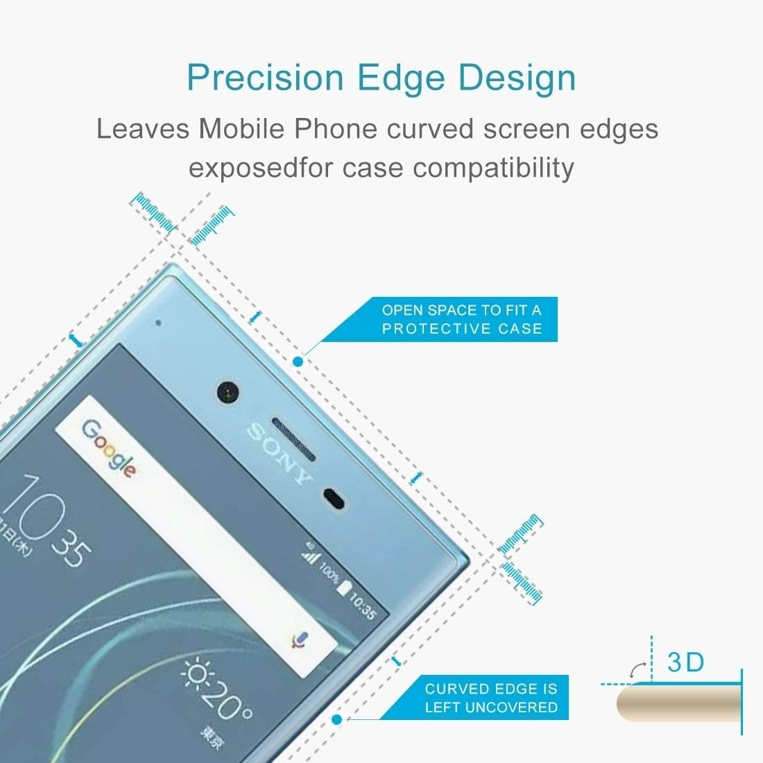 JIN Mobile Phone Screen Film 25 PCS for Sony Xperia XZs 0.33mm 9H Surface Hardness 3D Curved Full Screen Tempered Glass Screen Protector Black Color : Transparent
