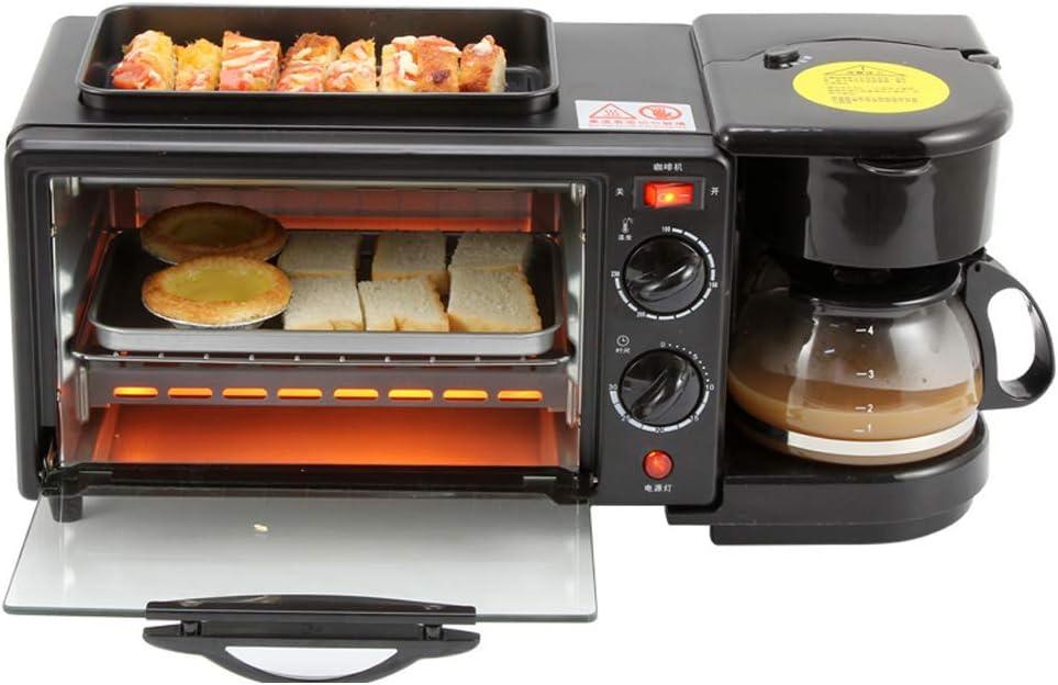 Máquina de desayuno en casa, máquina de pan tres en uno multifunción, mini horno eléctrico, cocina segura de acero inoxidable para café, huevos fritos, tostadas, hornear, huevos duros-black: Amazon.es: Hogar