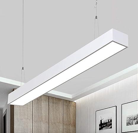 24W LED Lámpara colgante de diseño,2700lm 6000k, altura ajustable de la lámpara de mesa de comedor - Aluminio hierro [Clase de eficiencia energética ...