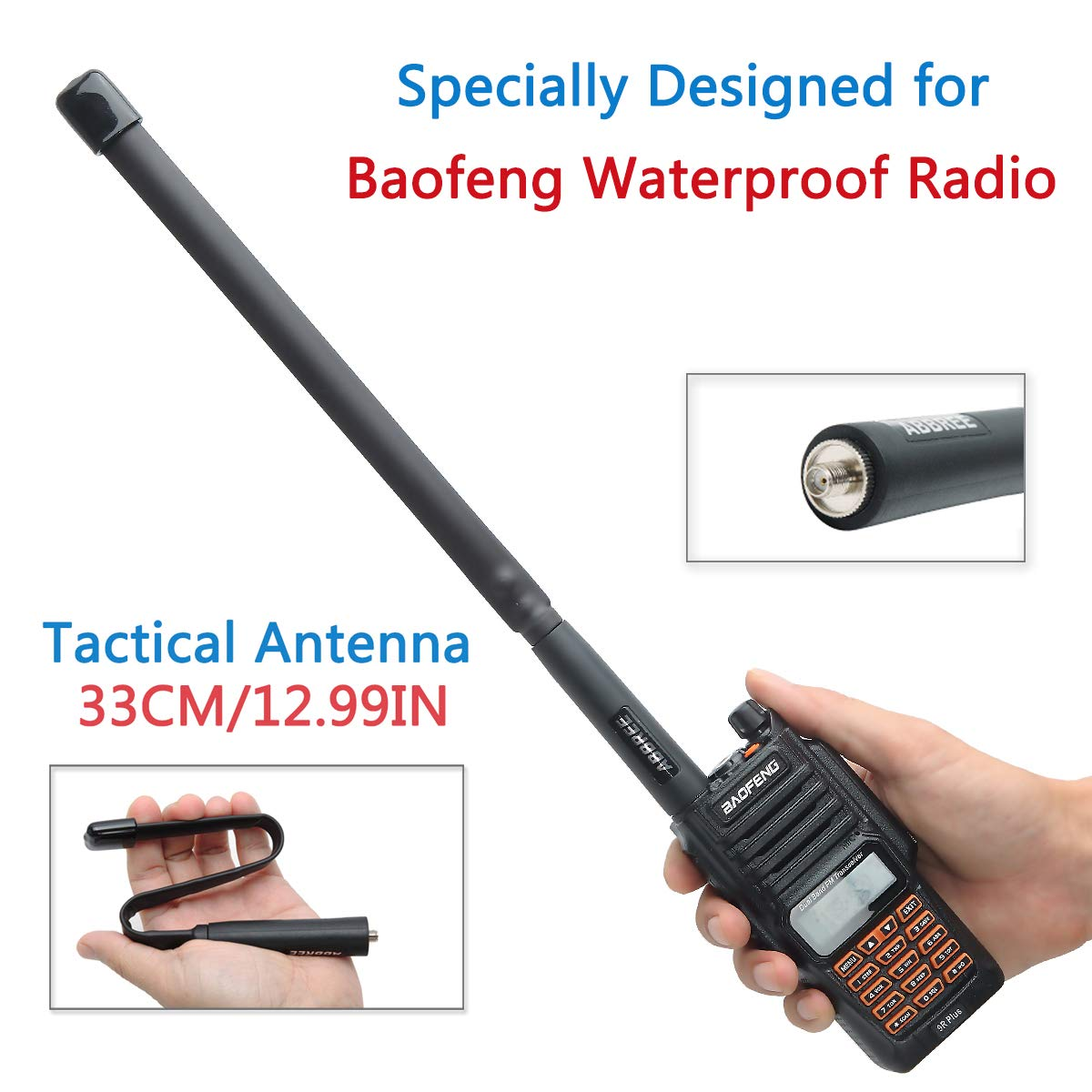ABBREE Army Game Pieghevole Tactical Outdoor Sport Dual Band VHF//UHF 144//430 MHz Antenna per Baofeng UV-XR UV-9R Plus GT-3WP UV-5RWP Impermeabile Radio bidirezionale 28.3in