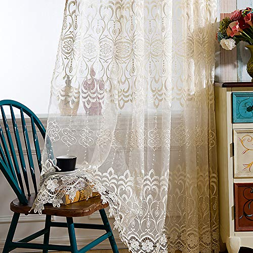 Exquisite Bedroom - AiFish Girls Bedroom Beige Lace Sheer Curtains Embroidered Exquisite Window Curtains Drape Room Divider Floral Voile Rod Pocket Home Decor Tulle Curtain Panels Window Treatment for Living Room 1 Panel