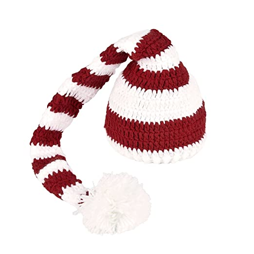 73977342b5d Per Babies Hand Knitted Hat Pom-pom Hat with Crochet ELF Long Tail Christmas  Photography