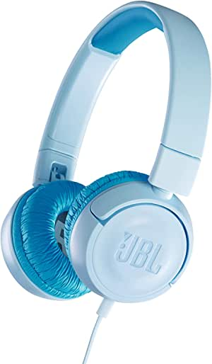 JBL JR300 Kids On-Ear Portable Foldable Headphones with Safe Sound Limited Volume to Protect Small Ears, Light Blue