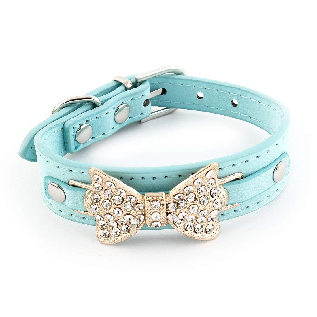 Faux Leather Bowknot Decor Adjustable Belt Pet Puppy Dog Collar Size XS bluee