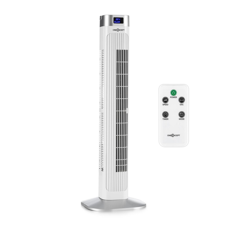 oneConcept Hightower 2G S/äulenventilator Standventilator Turmventilator 3 Geschwindigkeiten, 50 Watt, 3 Modi: Normal + Nacht + Natur, Oszillation, Timer, Fernbedienung schwarz